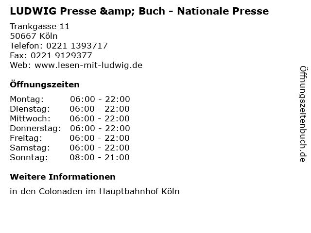 LUDWIG Presse & Buch - Nationale Presse in Köln: Adresse und Öffnungszeiten