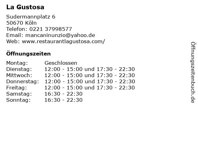 La Gustosa in Köln: Adresse und Öffnungszeiten