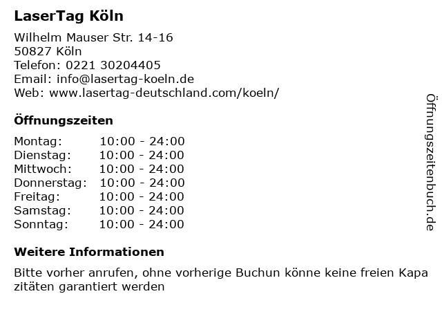 LaserTag Köln in Köln: Adresse und Öffnungszeiten