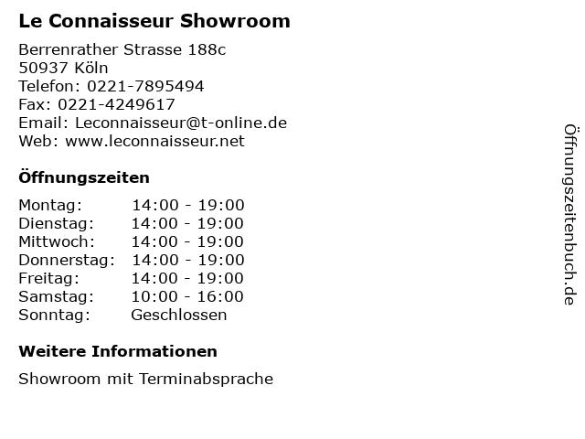 Le Connaisseur Showroom in Köln: Adresse und Öffnungszeiten