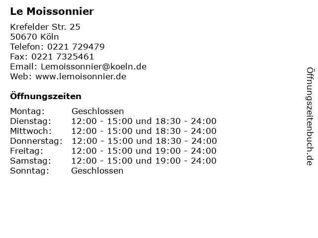 Le Moissonnier in Köln: Adresse und Öffnungszeiten