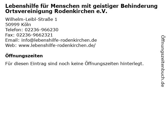 Lebenshilfe für Menschen mit geistiger Behinderung Ortsvereinigung Rodenkirchen e.V. in Köln: Adresse und Öffnungszeiten
