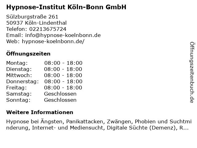 Hypnose-Institut Köln-Bonn GmbH in Köln-Lindenthal: Adresse und Öffnungszeiten