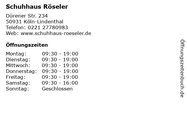 Schuhhaus Röseler in Köln-Lindenthal: Adresse und Öffnungszeiten