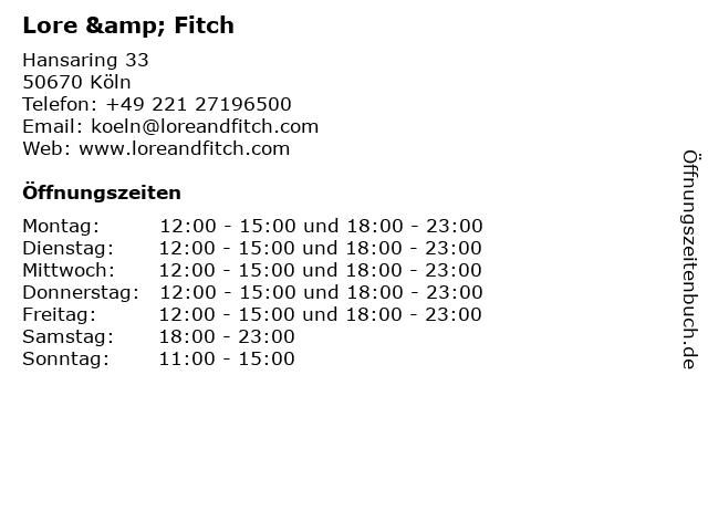 Lore & Fitch in Köln: Adresse und Öffnungszeiten