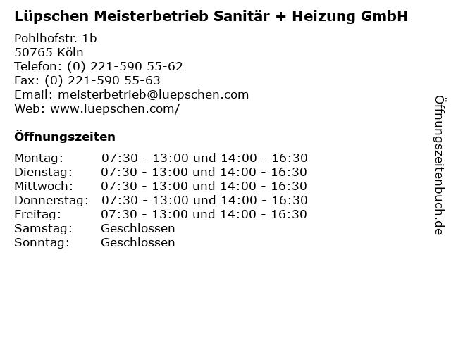Lüpschen Meisterbetrieb Sanitär + Heizung GmbH in Köln: Adresse und Öffnungszeiten