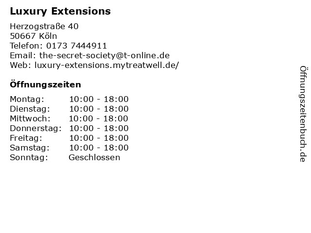 Luxury Extensions in Köln: Adresse und Öffnungszeiten