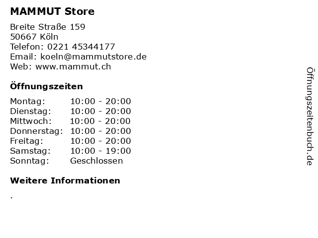 """5d42471daed324 ᐅ Öffnungszeiten """"MAMMUT Store"""""""