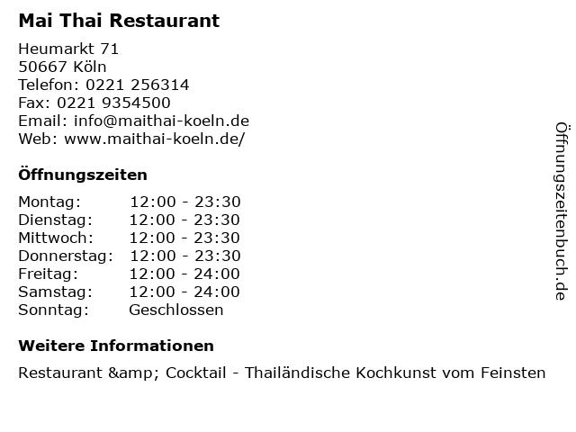 Mai Thai Restaurant in Köln: Adresse und Öffnungszeiten