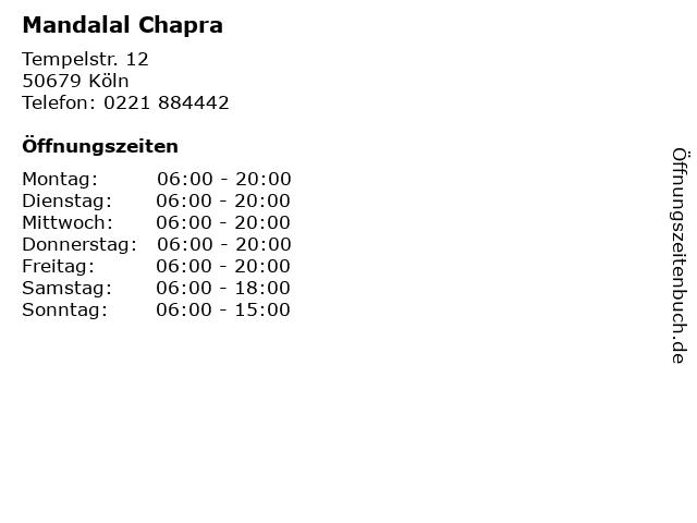 Mandalal Chapra in Köln: Adresse und Öffnungszeiten