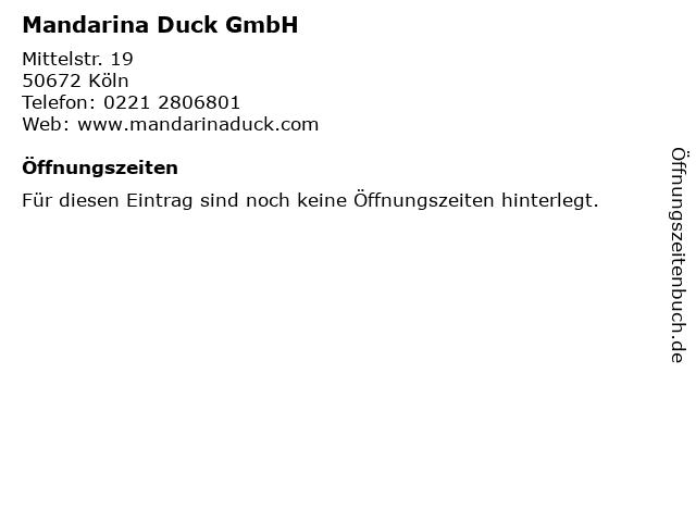Mandarina Duck GmbH in Köln: Adresse und Öffnungszeiten