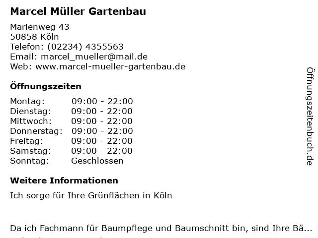 Marcel Müller Gartenbau in Köln: Adresse und Öffnungszeiten