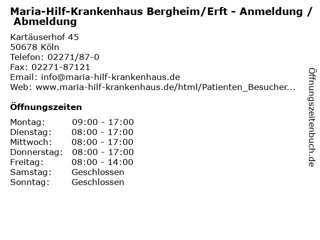 Maria-Hilf-Krankenhaus Bergheim/Erft - Anmeldung / Abmeldung in Köln: Adresse und Öffnungszeiten
