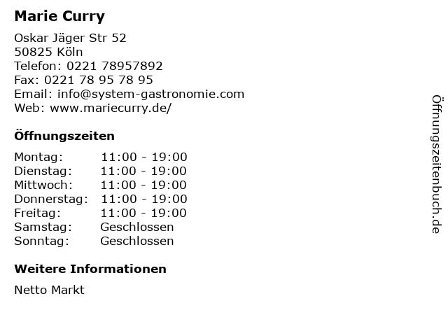Marie Curry in Köln: Adresse und Öffnungszeiten