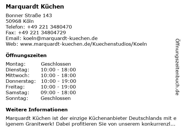ᐅ Offnungszeiten Marquardt Kuchen Bonner Strasse 143 In Koln