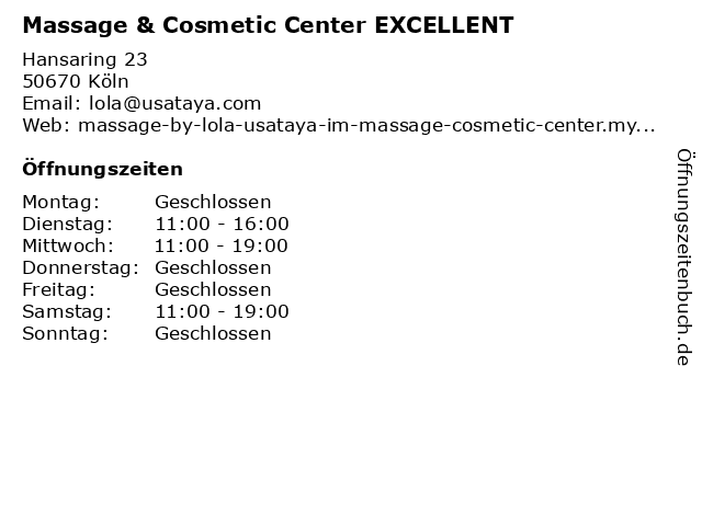 Massage & Cosmetic Center EXCELLENT in Köln: Adresse und Öffnungszeiten