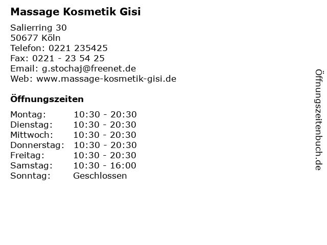 Massage Kosmetik Gisi in Köln: Adresse und Öffnungszeiten