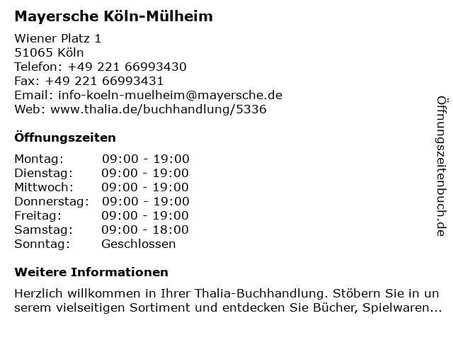 Mayersche Buchhandlung KG in Köln-Mülheim: Adresse und Öffnungszeiten