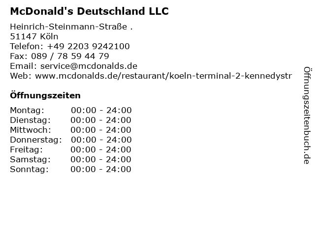 McDonald's Deutschland LLC in Köln: Adresse und Öffnungszeiten
