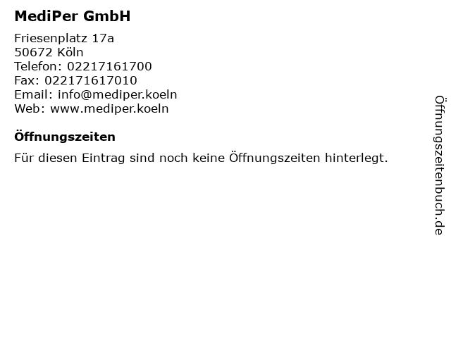 Friesenplatz 17A Köln ᐅ Öffnungszeiten mediper gmbh   friesenplatz 17a in köln