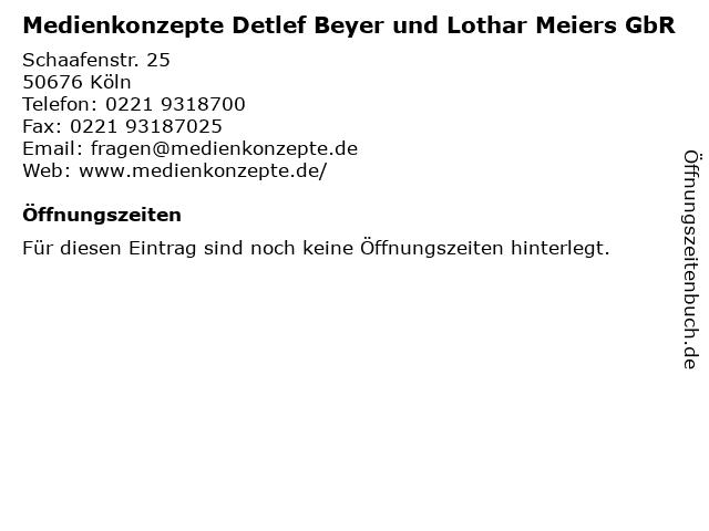 Medienkonzepte Detlef Beyer und Lothar Meiers GbR in Köln: Adresse und Öffnungszeiten
