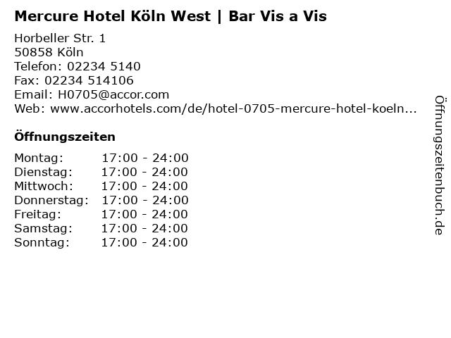Mercure Hotel Köln West | Bar Vis a Vis in Köln: Adresse und Öffnungszeiten