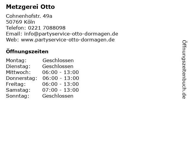 Metzgerei Otto in Köln: Adresse und Öffnungszeiten