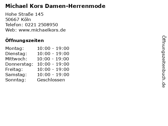 Michael Kors Damen-Herrenmode in Köln: Adresse und Öffnungszeiten