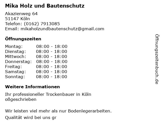 Mika Holz und Bautenschutz in Köln: Adresse und Öffnungszeiten
