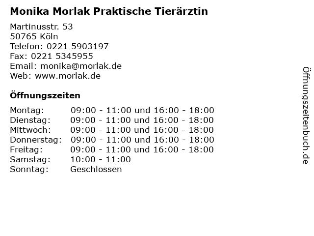 Monika Morlak Praktische Tierärztin in Köln: Adresse und Öffnungszeiten