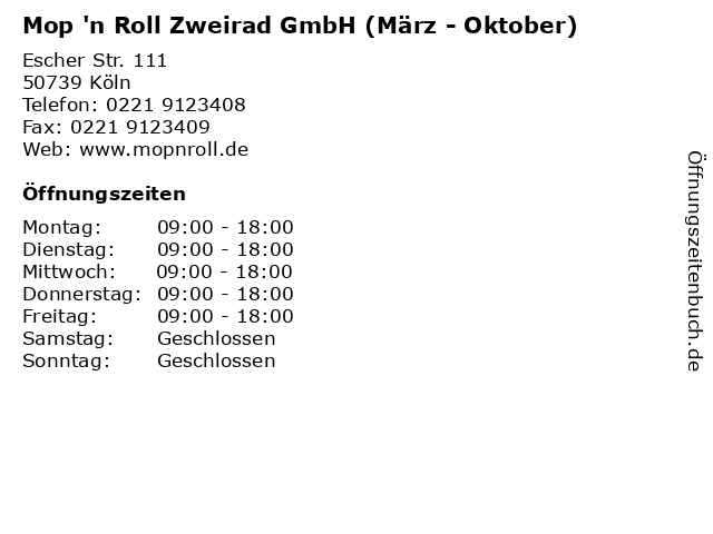 Mop 'n Roll Zweirad GmbH (März - Oktober) in Köln: Adresse und Öffnungszeiten