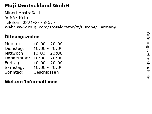 Muji Deutschland GmbH in Köln: Adresse und Öffnungszeiten