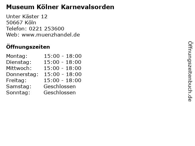 Museum Kölner Karnevalsorden in Köln: Adresse und Öffnungszeiten