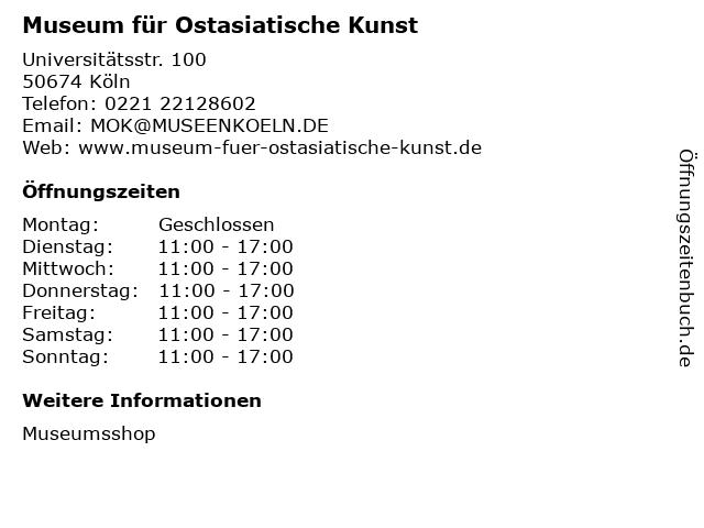 Museum für Ostasiatische Kunst in Köln: Adresse und Öffnungszeiten