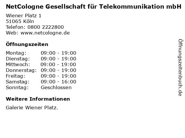NetCologne Gesellschaft für Telekommunikation mbH in Köln: Adresse und Öffnungszeiten