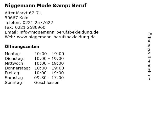 Niggemann Mode & Beruf in Köln: Adresse und Öffnungszeiten
