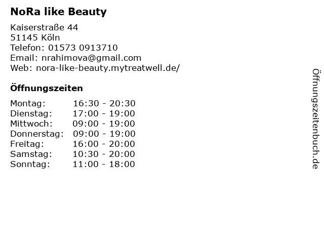 NoRa like Beauty in Köln: Adresse und Öffnungszeiten