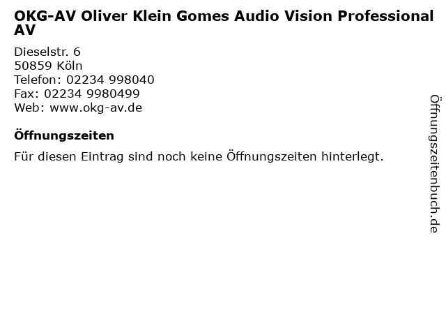 OKG-AV Oliver Klein Gomes Audio Vision Professional AV in Köln: Adresse und Öffnungszeiten