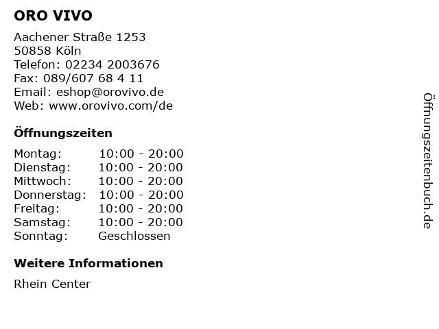 ORO VIVO in Köln: Adresse und Öffnungszeiten