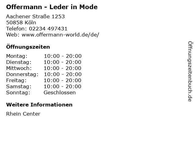 Offermann - Leder in Mode in Köln: Adresse und Öffnungszeiten