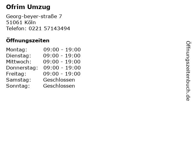 Ofrim Umzug in Köln: Adresse und Öffnungszeiten
