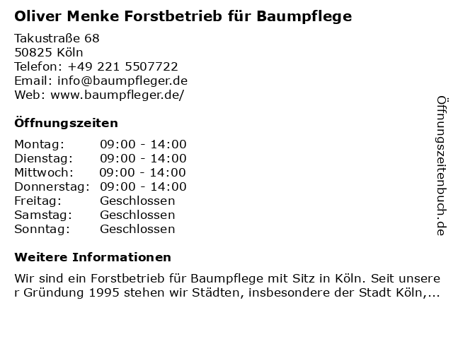 Oliver Menke Forstbetrieb für Baumpflege in Köln: Adresse und Öffnungszeiten