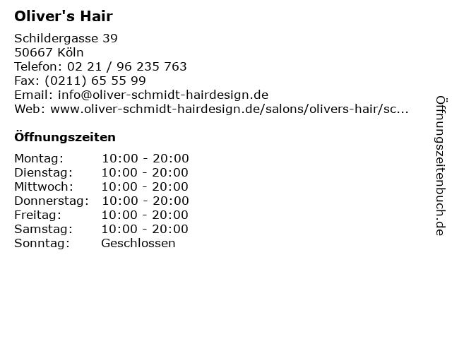 Oliver's Hair in Köln: Adresse und Öffnungszeiten
