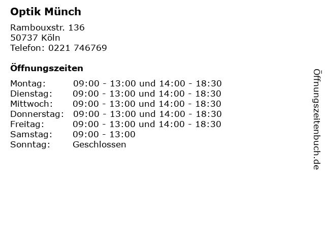 Optik Münch in Köln: Adresse und Öffnungszeiten