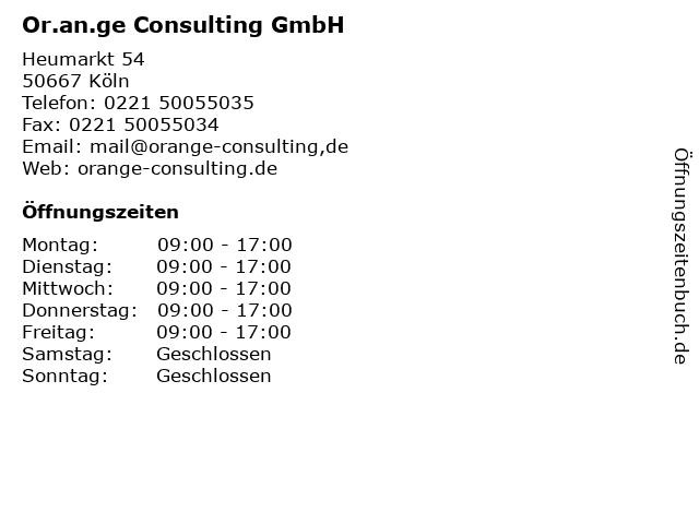 Or.an.ge Consulting GmbH in Köln: Adresse und Öffnungszeiten