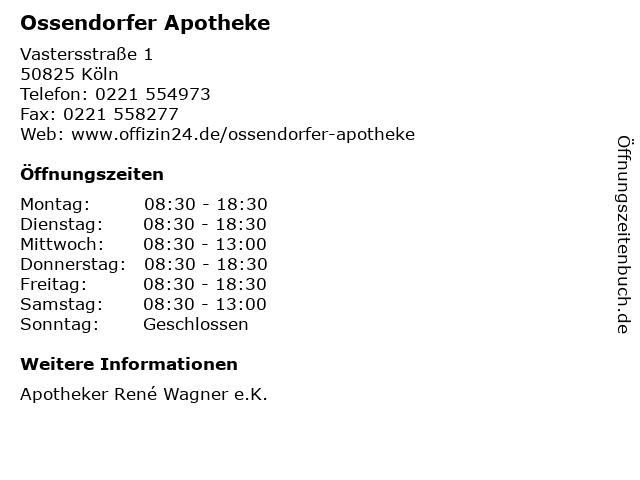 Ossendorfer Apotheke in Köln: Adresse und Öffnungszeiten