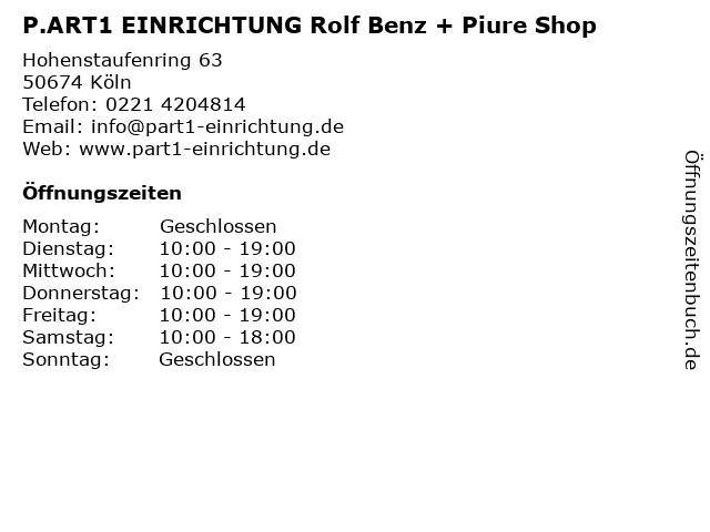 P.ART1 EINRICHTUNG Rolf Benz + Piure Shop in Köln: Adresse und Öffnungszeiten