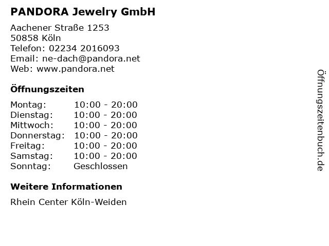 PANDORA Jewelry GmbH in Köln: Adresse und Öffnungszeiten