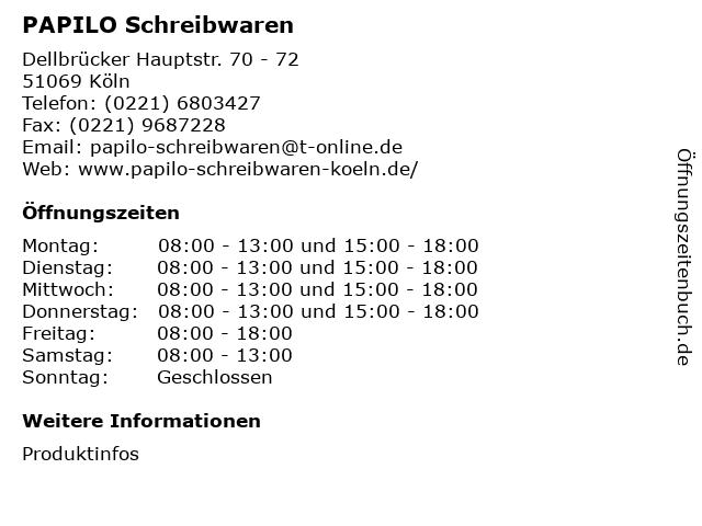 PAPILO Schreibwaren in Köln: Adresse und Öffnungszeiten
