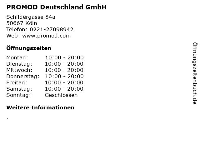 PROMOD Deutschland GmbH in Köln: Adresse und Öffnungszeiten